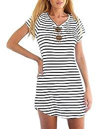 Tongshi Las nuevas mujeres de cuello redondo manga corta a rayas camiseta floja mini vestido