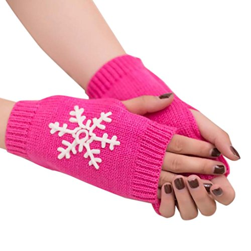 Huihong 18 Farben Winter Handgefertigt Gestrickte Fingerlose Armstulpen Warm Strick Handschuhe Pulswärmer Handstulpen Armwärmer Stulpen für Damen Mädchen (Heißes Rosa)