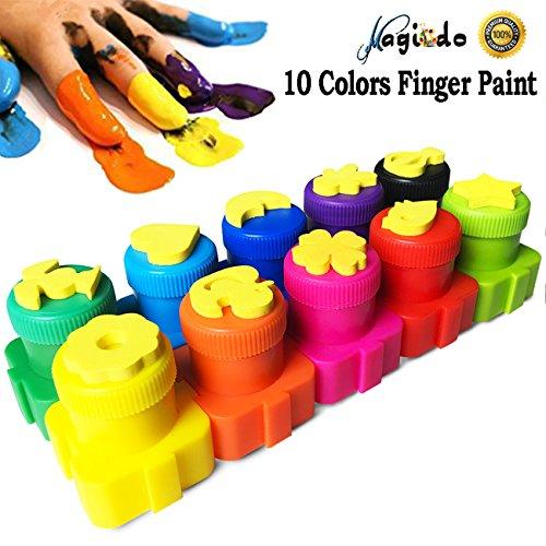 Magcido Kinder Farbe mit Stempel, 10 Farben waschbar Fingerfarbe Set, sichere und nicht toxische Farbe für Kinder, Kleinkinder (Fingerpaint Crayola)