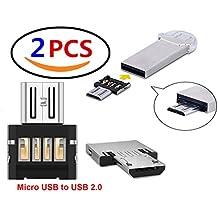 Lucklystar® Cavo Adattatore OTG, da micro USB a USB 2.0,da maschio a femmina, presa per Android Smartphone/Tablet con funzione OTG 2PCS Enchufe