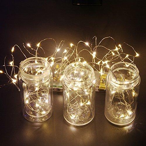 Goswot Starry String Lights mit Fernbedienung von Timer und Dimmer 50 LEDs 16ft Batterie Kupferdraht Warm White - Schnur-dimmer Durch