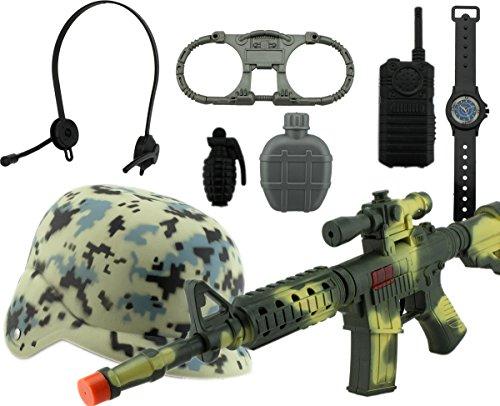 GYD Army Gewehr Riffel Helm Handschellen WalkyTalky Uhr uvm. im Set Kostüm Fasching Karneval Spielset (Kinder Spielzeug Soldaten Kostüme)