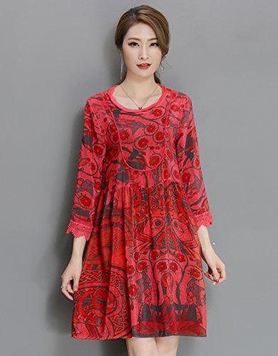 6c2b9d189788 ... LAI MENG Vintage Damen 3 4 Ärmel Skater-Kleid mit Blumenmuster A-Linie  ...