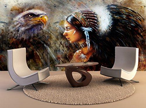 Wand Drucken Poster schöne mystische Malerei junge indische Frau Eagle Feather Headdress Profil Portrait Abstrakt Hintergrund Wall Art Dekor Fototapete Poster Hochwertiger Druck (Portrait Profil)