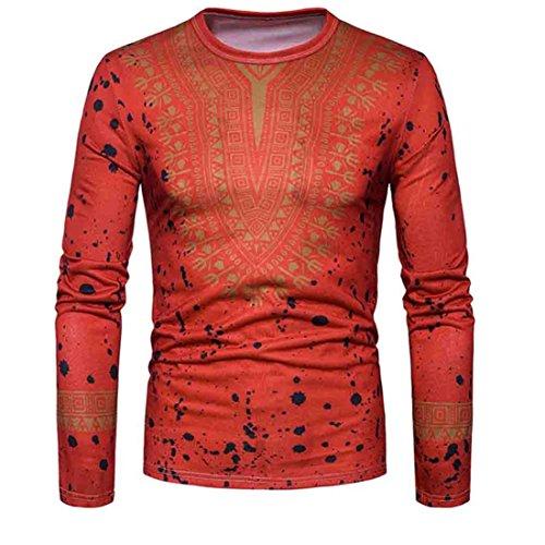 Herren Bluse FORH Mens Casual Langarmshirt Top Oberteile Klassisch Retro African Print O-Ausschnitt Pullover T-Shirt Modisch Summer Slim Fit Sweatshirt Blusen tops (S, Rot)
