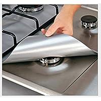 Zantec - Juego de 4 protectores para cocinas de gas - reutilizables, antiadherentes, aptos