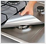 Zantec - Juego de 4 protectores para cocinas de gas - reutilizables, antiadherentes, aptos para lavavajillas - lámina protectora contra gases, para fogones, tapete para mantener la limpieza