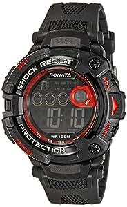 Sonata Digital (BLACK) Dial Men's Watch - 77010PP02