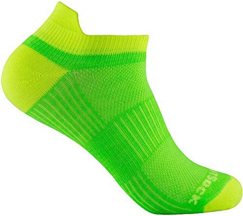 Wrightsock Profi Sportsocke Sneakers Low Tab Gr. M - anti-blasen - Farbe lemon lime (Wrightsock Damen Socken)