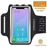 PORTHOLIC Schweißfest Sport Armband bis 6.5 Zoll für iPhone X XS Max 8/7 Plus 6/6S Plus,Galaxy S9/S8/S7 Plus Edge,Note 9/8/6 Huawei P20 Mate LG g6 Xiaomi Mit Schlüsselhalter/Kabelfach