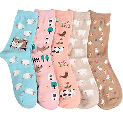 XuxMim 5 Paar Frauen Mädchen Print Cartoon Schafe Uniform Animal Mid Tube Nette Socken