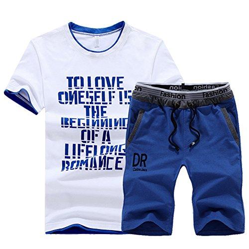 Estate stampa casuale sportiva tuta uomo girocollo t-shirt a maniche corte e sport pantaloncini blu chiaro l
