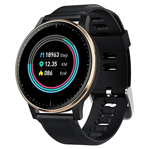 ZHAOHAONB Orologio Intelligente 2019 Q20 Smart Watch Blood Pressure Heart Rate Monitor Clock IP67 Waterproof Sport Fitness Trakcer Watch Men Women Smartwatch,Black Gold