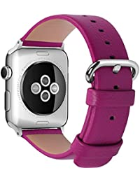 Apple Watch Correa, Fullmosa®Yan Series Apple Watch Pulsera de Piel Apple Watch Band Reemplazo de Reloj con Costuras Blancas y Cierre de Acero Inoxidable para Apple Watch iWatch Serie 1 Serie 2, 38mm, Rosa