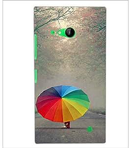 PrintDhaba Rainbow Umbrella D-2717 Back Case Cover for NOKIA LUMIA 730 (Multi-Coloured)