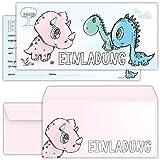 beriluDesign Einladungskarten Zum Geburtstag Dinosaurier Mädchen und Jungen - Einladungen Kindergeburtstag mit Umschlägen
