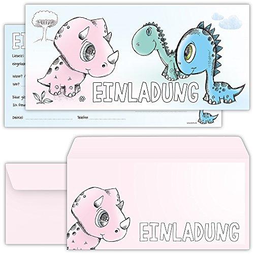 (beriluDesign Einladungskarten Zum Geburtstag Dinosaurier Mädchen und Jungen - Einladungen Kindergeburtstag mit Umschlägen)