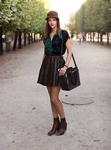LeahWard® Damen Reißverschluss Handtaschen nett Groß Tote Schultertaschen 314 314A 502 LW BURGUNDY