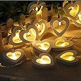 TAOtTAO Creative Cœur en Bois LED Guirlande Lumineuse de Noël Amour Décor fête de Mariage Décor, 3m/118-20pcs LED