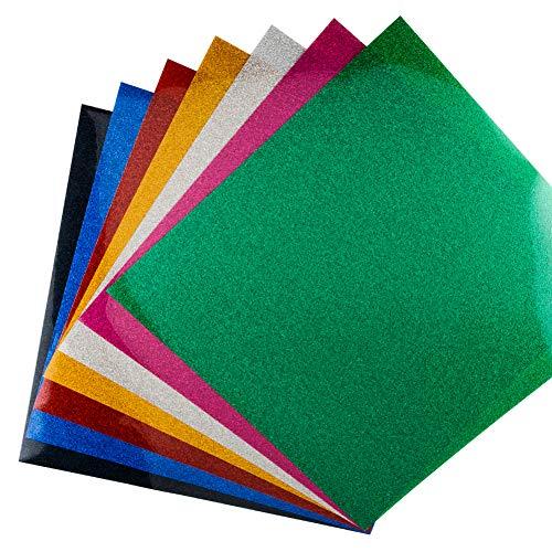 KISSWILL Glitzer-Wärmeübertragung, Vinyl, HTV, 7 Blätter, 25,4 x 25,4 cm, 7 verschiedene Farben, HTV Glitzer-Bündel zum Aufbügeln, für Cricut und Silhouette Cameo, einfach zu schneiden und zu drücken
