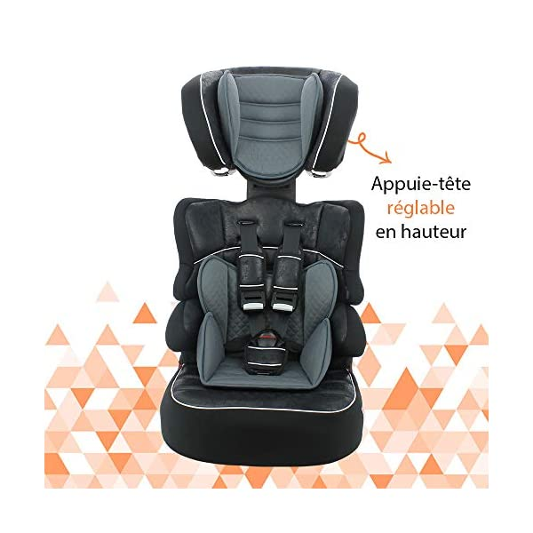 Child car seat Beline Grp 1/2/3 (9-36kg) with side protection - Nania Skyline black nania Booster seat with group 1/2/3 harness for children between 9 and 36 kg. The BELINE group 1/2/3 car seat is approved according to ECE R44/04 and is manufactured and tested in France. Beline car seat to transport your child in the car in complete safety. The car seat can only be installed facing the road in the back seat of the car. The car seat is secured with the 3-point seat belt and the child is secured with the 5-point harness. 6
