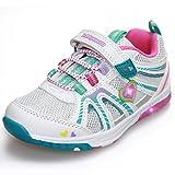 GRITION Sport Chaussures LED pour Filles Velcro de Fixation Allumer Kids Lumineuses Blanc Baskets Mignon Jolies Chaussures (EU 21)