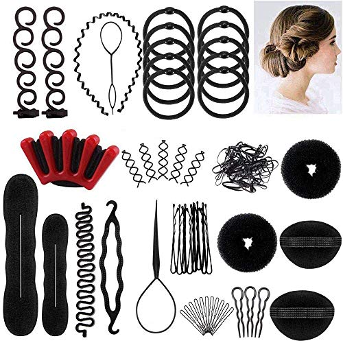 25pcs Haare Frisuren Set,Haar Zubehör styling set,Hair Styling Accessories Kit Set Haar Styling Werkzeug, Mädchen Magic Haar Clip Styling Pads Schaum Hair Styling tools für DIY - Haar-clip, Set