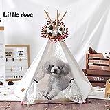 Little Dove Hunde Tipi Zelt Hause und Zelt mit Spitze für Hund oder Haustier, abnehmbar und waschbar mit Matraze weiss(S)