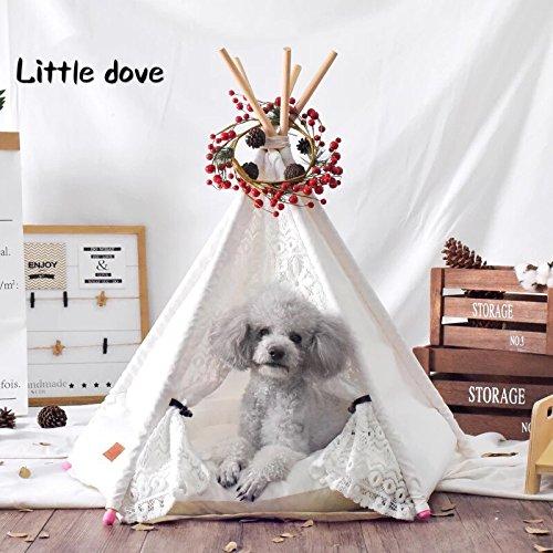 Little dove casa e tenda con pizzo per cane o animale domestico, rimovibile e lavabile con martraze