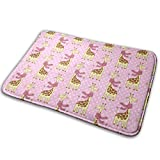 Salon Towels Cute Giraffes with Scarves Entrance Floor Mat Home Decor Carpet Indoor Rectangle Doormat Kitchen Comfort Mats