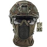 JYNQR CS Tactical Airsoft Maske mit Nackenschutz, Jagd-Paintball-Schutzhelm-Abdeckungs-Set, Fliegende Motorradkopf-Vollgesichtsmaske-Sturmhaube,Cset