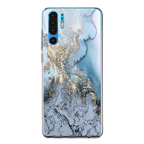pooier Kompatibel Mit Huawei P30 Pro Hülle, Handyhülle Crystal Clear Ultra Dünn Durchsichtige Silikon Schutzhülle TPU Case für P30 Pro Blume (Huawei P30 Pro, Blau-weiß-Marmor) -