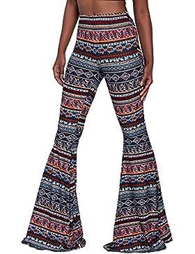 Pantalones Bootcut de las mujeres, pantalones casuales de cintura alta Pantalones acampanados elegantes pantalones...