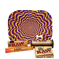 ‏‪Bundle - 5 Items - Raw Classic 1 ¼ Rolling Papers, 79mm Roller, Pre-Rolled Tips with Hippie Butler Mini Rolling Tray (Trippy) and Hippie Butler Kewltube‬‏