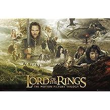 """Póster """"El Señor de los Anillos - Trilogía"""" The Lord of the Rings - Trilogy (91,5cm x 61cm) + 2 marcos transparentes con suspención"""