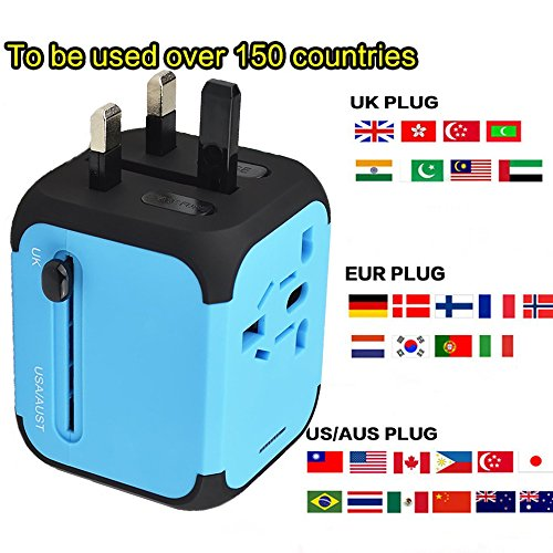 Travel Adapter Elektrische Stecker Sockets Converter mit Dual USB Ladekabel 2,4 A LED-Betriebsanzeige Elektrische Stecker International Travel Plug Adapter Laden(blau)