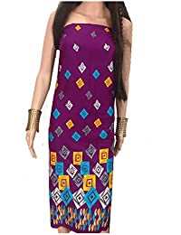 Kurti Material Blouse Fabric Pure Cotton colour fast, purple base, art print