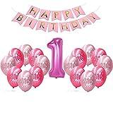BUWANT Erste Geburtstag Dekorationen für Mädchen | 1. Baby Mädchen Rose Nummer 1 Ballon, Alles Gute Zum Geburtstag Banner, 8 Rosa und 8 Rot Latex Ballon