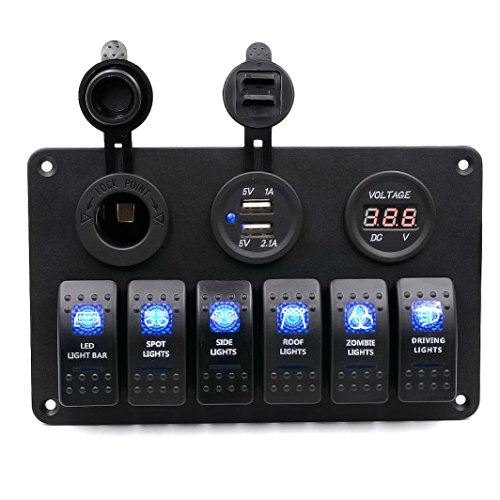 Kaiki WUPP 5PIN Voltmeter,6 Gang wasserdicht Auto Auto Boat Marine LED Wippschalter Switch Panel Leistungsschalter (Marine Switch Panel)