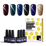 Lagunamoon UV LED ablösbarer Nagellack Gellack Set nail Gel Polish für Nageldesign-Cat Eyes 6 Farbe Geschenk Set 8ml