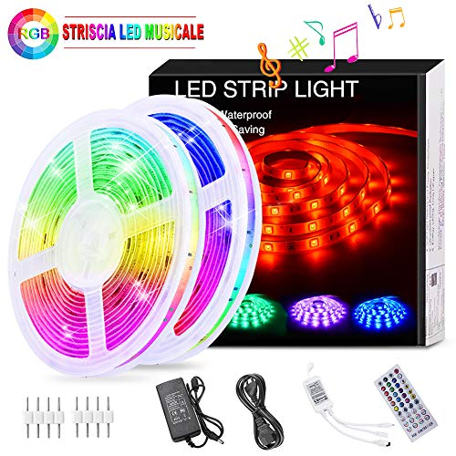 Striscia LED RGB Musicale 10M, Autoadesiva Striscia Luminosa 12V LED Strip RGB Impermeabile/Flessibile/Accorciabile/Divisibile/Collegabile Led Illuminazione Strisce Decorative per Interni/Esterni