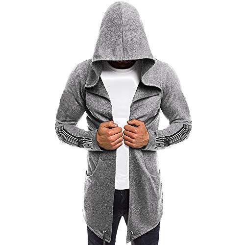 Feitong Herren Pullover, Männer Splicing Hooded Massive grabenmantel Jacke Cardigan Lange Ärmel Outwear Bluse(EU-44/Size-2XL, Grau)