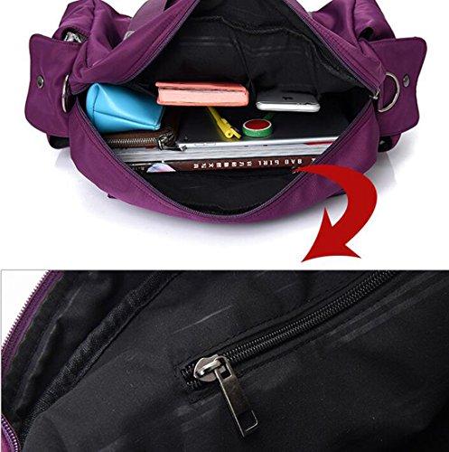 Fansela Handtasche Schultertasche Damen Tasche Nylon, 45x16x28 cm, Blau Lila