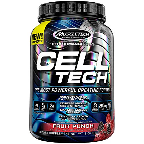 MuscleTech CellTech Creatine Powder, Micronized Creatine, Creatine HCl, Fruit Punch, 1.36 kg