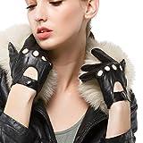 Nappaglo Damen Lederhandschuhe für fahren Touchscreen klassische Lammfell Vollfinger Motorrad Ungefüttert Handschuhe