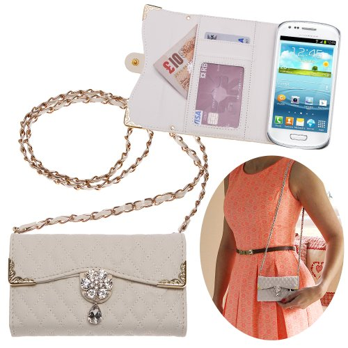 Xtra-Funky Hülle Kompatibel mit Samsung Galaxy S3 Mini, Kunstleder Gesteppte Handtasche Stil Gehäuse mit Trageschlaufe und schön dekoriert Kristall Blume - WEIß - Weiße Gesteppte