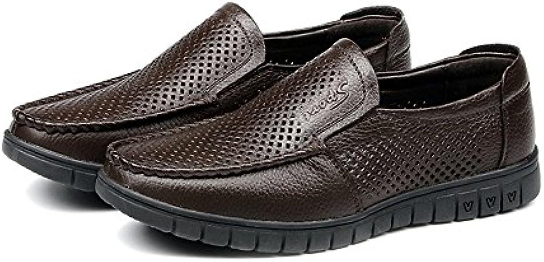 SunnyBaby Klassische Herrenschuhe Atmungsaktive Perforation Echtes Leder Oberer Slip on Flat Soft Sohle Loafer