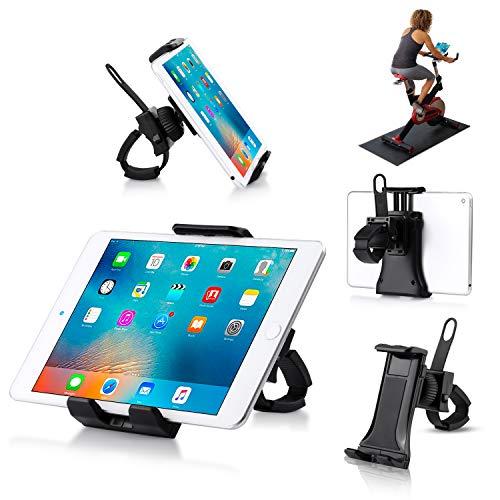 Universal-Halterung für Mobiltelefon/Tablet für Drehrad, tragbarer Smartphone- und Tablet-Ständer für Laufband Heimtrainer, verstellbare 360 Grad drehbare Halterung für Smartphones und Tablets.