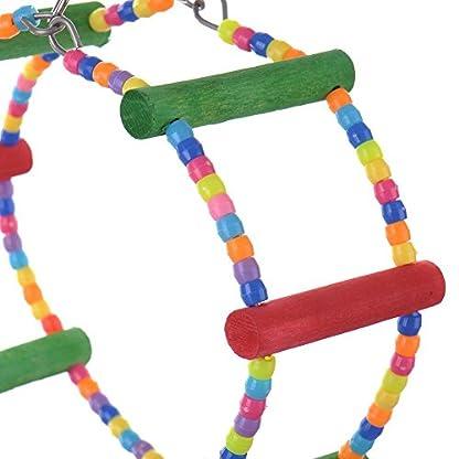 LA VIE Parrot Bird Toy Wooden Rope Cave Aviary Ladder Swings Bells 5