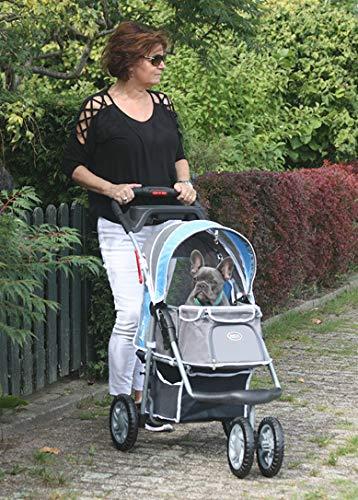 "InnoPet® Hundebuggy blau grau Hundewagen Katzenbuggy Hundejogger robust Kinderwagen für Hunde Pet Stroller - Modell ""First-Class"""